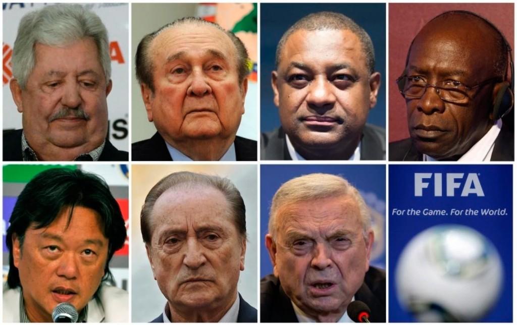 Siete de los nueve oficiales de la FIFA acusados de corrupción.